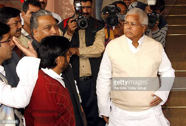 RJD chief and former Railways minister Lalu Prasad arrives for the Railway Budget session on Wednesday February 24 2010