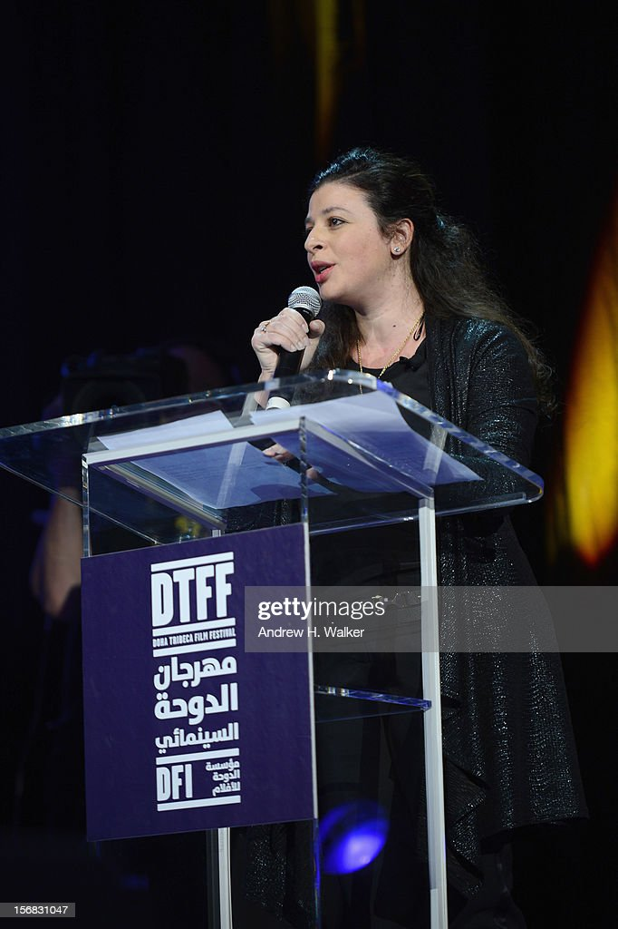 Chief Arab Programmer Hania Mroue speaks at the Awards Ceremony at the Al Rayyan Theatre during the 2012 Doha Tribeca Film Festival on November 22, 2012 in Doha, Qatar.