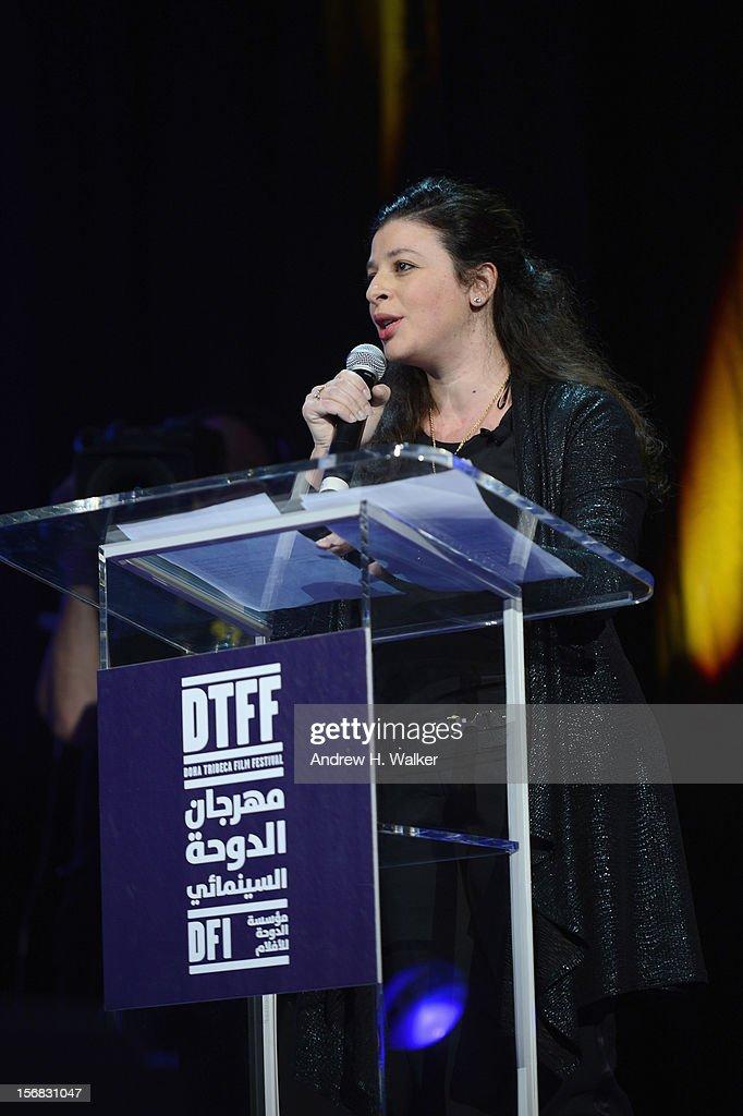 Chief Arab Programmer Hania Mroue speaks at the Awards Ceremony at the Al Rayyan Theatre during the 2012 Doha Tribeca Film Festival on November 22, 2012 in Doha, Qatar.