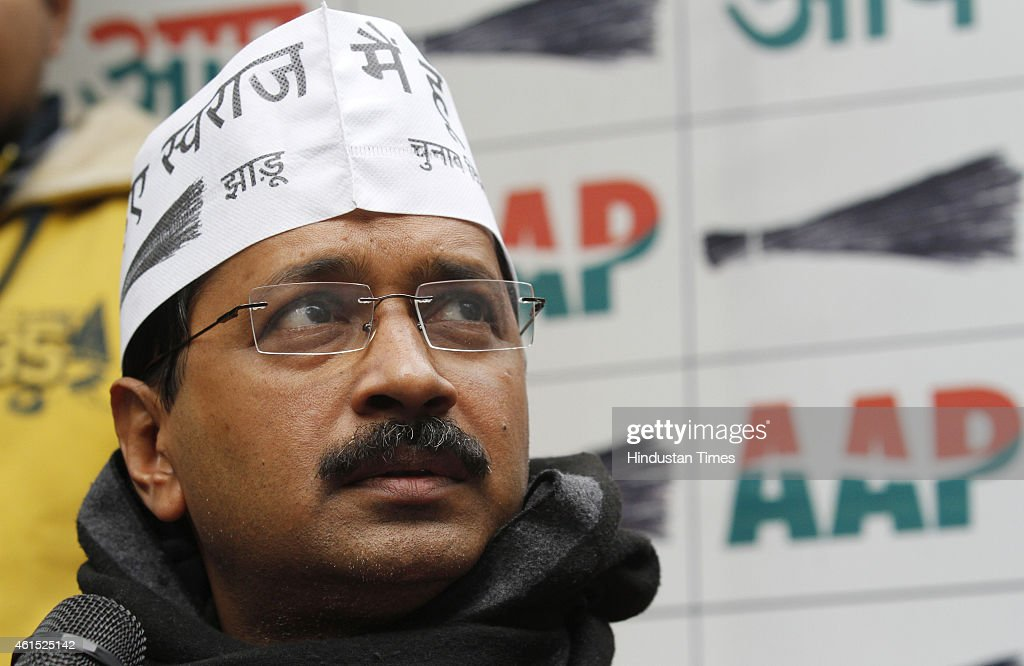 AAP Chief <a gi-track='captionPersonalityLinkClicked' href=/galleries/search?phrase=Arvind+Kejriwal&family=editorial&specificpeople=5980396 ng-click='$event.stopPropagation()'>Arvind Kejriwal</a> during a press conference on January 14, 2015 in New Delhi, India. Kejriwal alleged that there is a nexus between Delhi BJP chief Upadhyay and Discoms as he owns companies which work which install and replace electricity meters in Delhi. The 70-member Delhi Assembly elections will be held on February 7 and the counting of votes will be held on February 10.