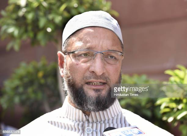AIMIM chief Asaduddin Owaisi during the Parliament Budget Session on March 22 2017 in New Delhi India