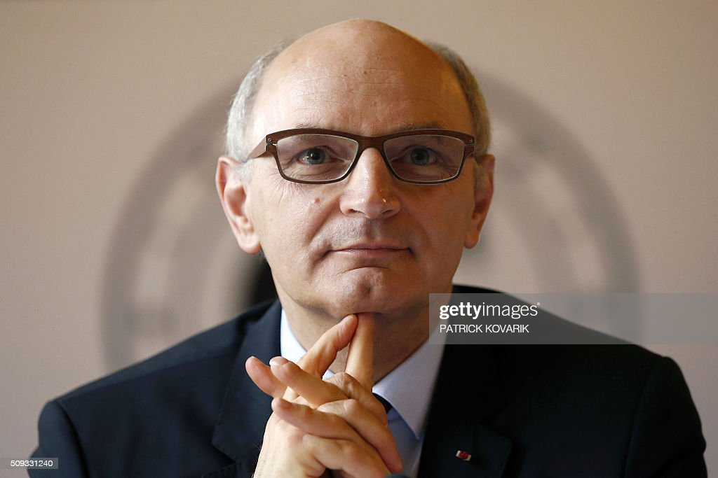 Chief Baron of the Court of Audit of France, Didier Migaud looks on during the presentation of the annual report of the Court of Auditors on February 10, 2016 in Paris. / AFP / PATRICK KOVARIK