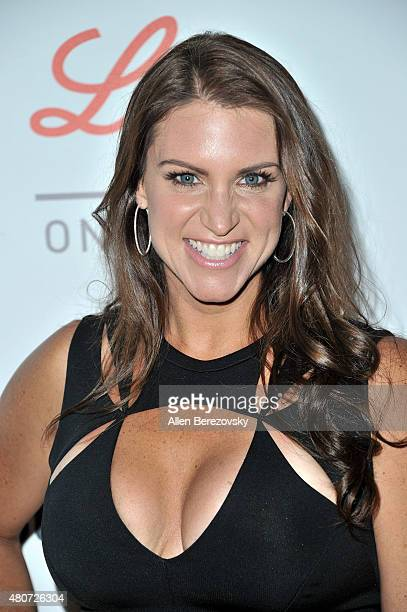 Chief Brand Officer of WWE Stephanie McMahon arrives at the Sports Humanitarian of the Year Awards 2015 at The Conga Room at LA Live on July 14 2015...