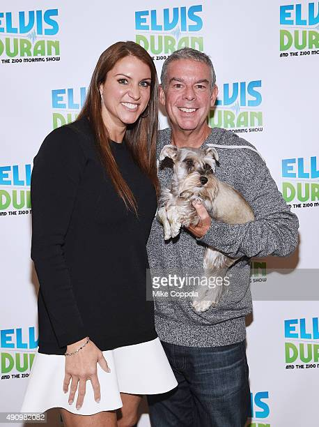 Chief Brand Officer of WWE Stephanie McMahon Elvis Duran and Max pose for a picture after 'The Elvis Duran Z100 Morning Show' at Z100 Studio on...