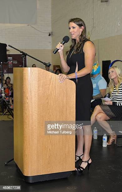 Chief Brand Officer Stephanie McMahan addresses the audience at the 'Be A STAR' Antibullying Rally For 200 Students At Boys Girls Club Of East Los...
