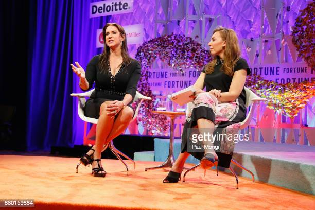 Chief Brand Officer Stephanie McMahon and Sports Illustrated Lead Anchor Maggie Gray speak onstage at the Fortune Most Powerful Women Summit Day 3 on...