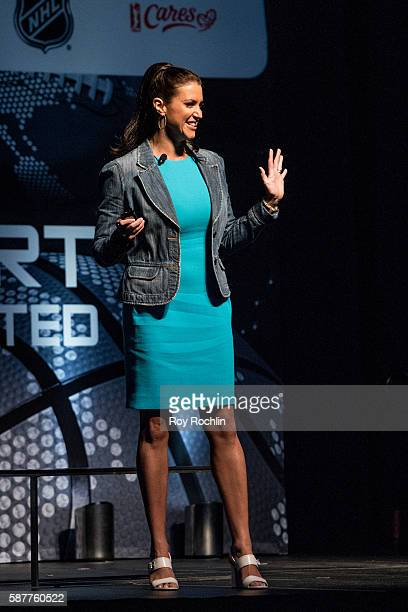 Chief Brand Officer Stephanie McMahon on stage during the Beyond Sport United 2016 at Barclays Center on August 9 2016 in Brooklyn New York