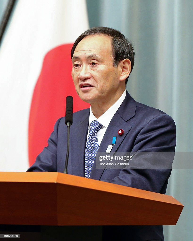 Chief Cabinet Secreatry Yoshihide Suga speaks during an emergency press conference at Prime Minister Shinzo Abe's Official Residence on February 12, 2013 in Tokyo, Japan. North Korea confirmed it had successfully carried out an underground nuclear test as a shallow earthquake with a magnitude of 4.9 was detected by several international monitoring agencies. South Korea and Japan both assembled an emergency meeting of their respective national security teams after the incident.