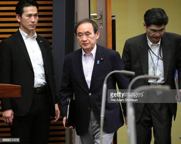 Chief Cabinet Secretary Yoshihide Suga attends a press conference after North Korea's missile launch at Prime Minister Shinzo Abe's official...