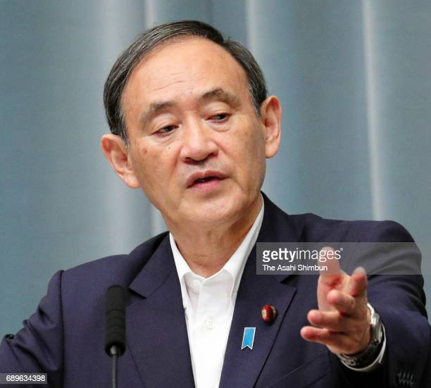 Chief Cabinet Secretary Yoshihide Suga speaks during a press conference after North Korea's missile launch at Prime Minister Shinzo Abe's official...