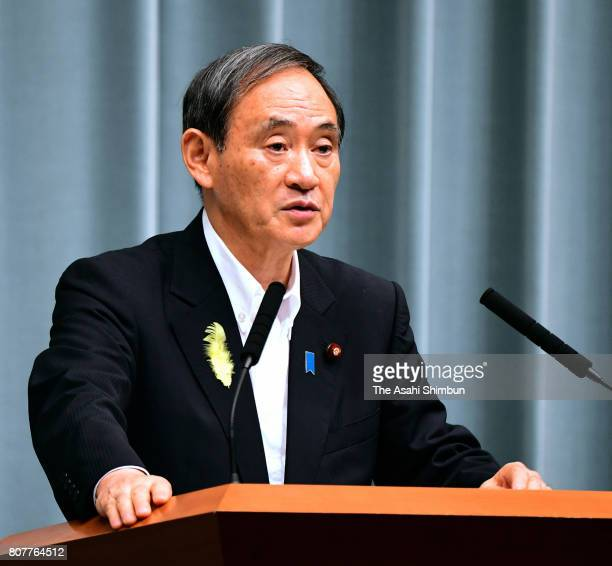 Chief Cabinet Secretary Yoshihide Suga speaks during a press conference after North Korean missile launch at Prime Minister's official residence on...