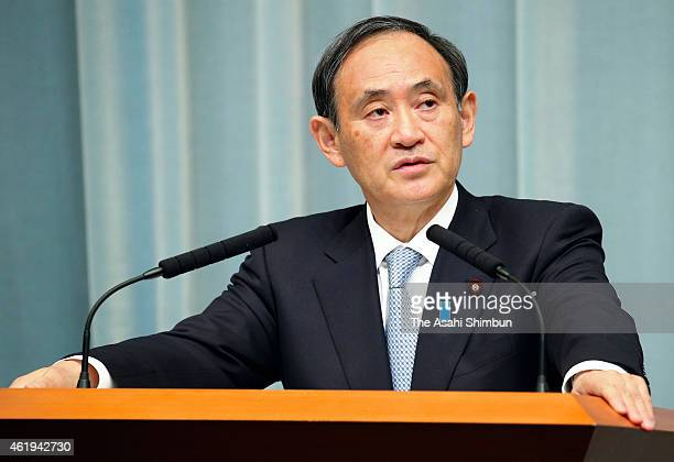 Chief Cabinet Secretary Yoshihide Suga speaks during a press conference at Prime Minister Shinzo Abe's official residence on January 22 2015 in Tokyo...