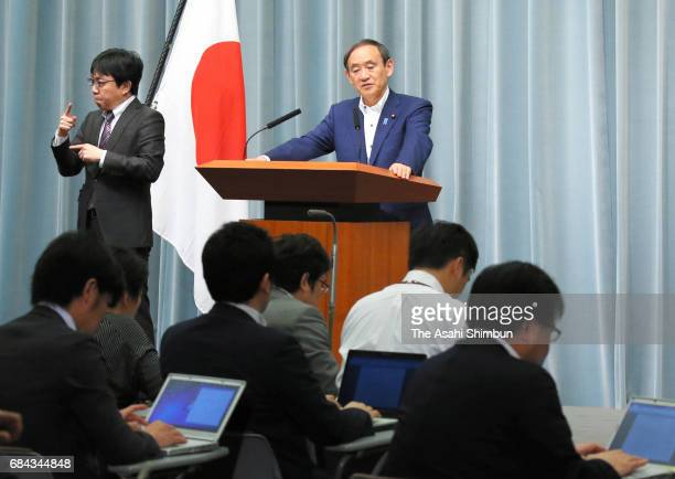 Chief Cabinet Secretary Yoshihide Suga speaks during a press conference at Prime Minister Shinzo Abe's official residence after North Korea launched...