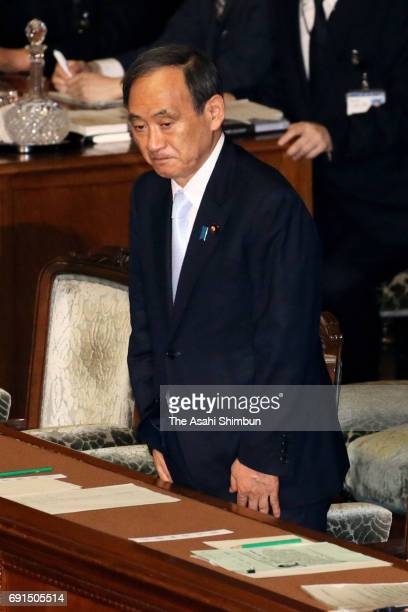 Chief Cabinet Secretry Yoshihide Suga is seen after a specialcase bill allowing Emperor Akihito to abdicate at a Lower House plenary session at the...