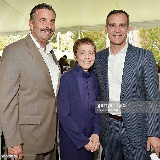 Chief Charlie Beck Gail Abarbanel and Eric Garcetti attend The Rape Foundation's Annual Brunch at Private Residence on September 25 2016 in Beverly...