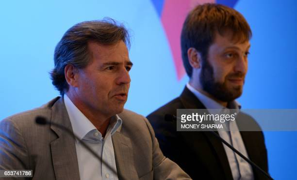 Chief Commercial Officer of The Fédération Internationale de Football Association Philippe Le Floc'h speaks during a press conference in New Delhi on...