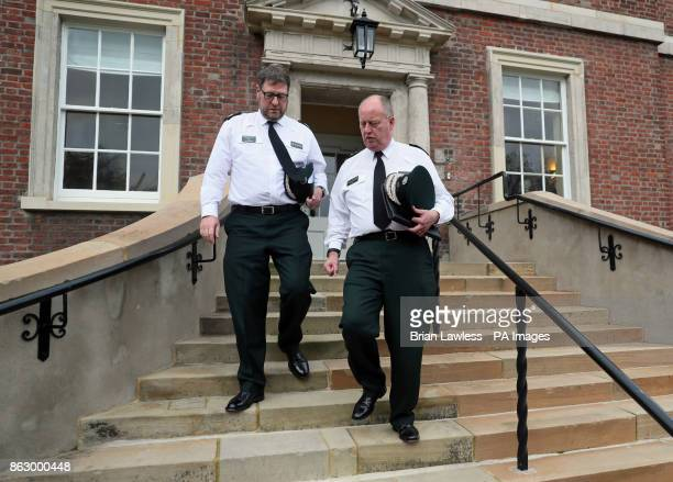 Chief Constable George Hamilton and Assistant Chief Constable Stephen Martin leaving an AntiSlavery Day event at Clifton House in Belfast after it...