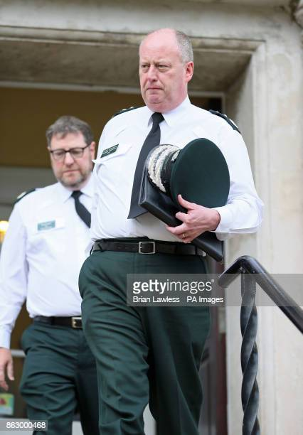Chief Constable George Hamilton leaving an AntiSlavery Day event at Clifton House in Belfast after it was announced that he is facing an...