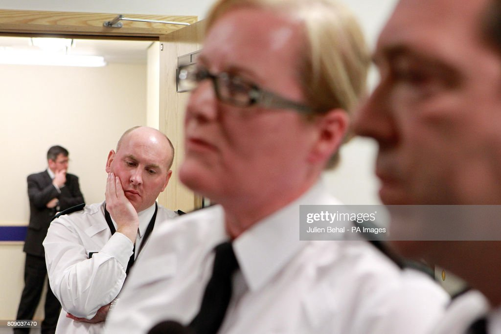 Chief Constable Matt Baggot (right) and other PSNI Officers giving a press conference in Omagh Police Station this evening after a young Catholic police officer was murdered by a booby-trap car bomb in Northern Ireland.