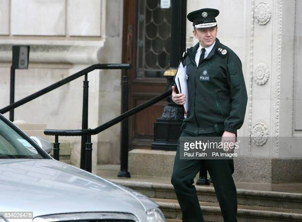 PSNI chief constable Sir Hugh Orde leaves the Parliament Buildings in Belfast He today warned a Stormont committee that the police in Northern...