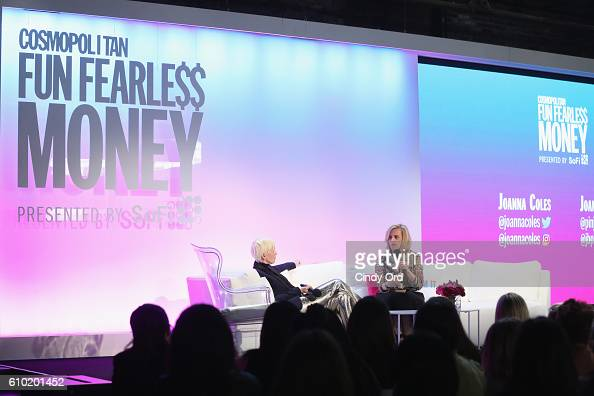 Chief Content Officer for Hearst Joanna Coles and Chief Operating Officer for SoFi Joanne Bradford speak onstage during Cosmopolitan Fun Fearless...