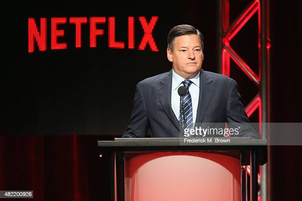 Chief Content Officer for Netflix Ted Sarandos speaks onstage during the Netflix portion of the 2015 Summer TCA Tour at The Beverly Hilton Hotel on...