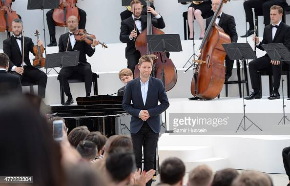 Chief Creative and chief executive officer of Burberry Christopher Bailey takes a bow after the Burberry Menswear Spring/Summer 2016 show at...