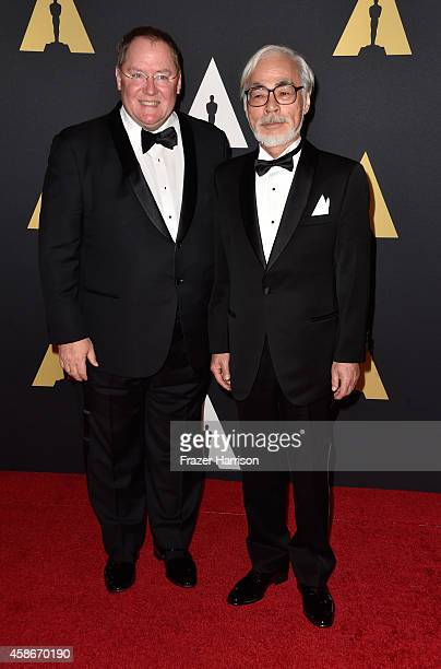 Chief creative officer at Pixar Walt Disney Animation Studios and DisneyToon Studios John Lasseter and Honoree Hayao Miyazaki attend the Academy Of...