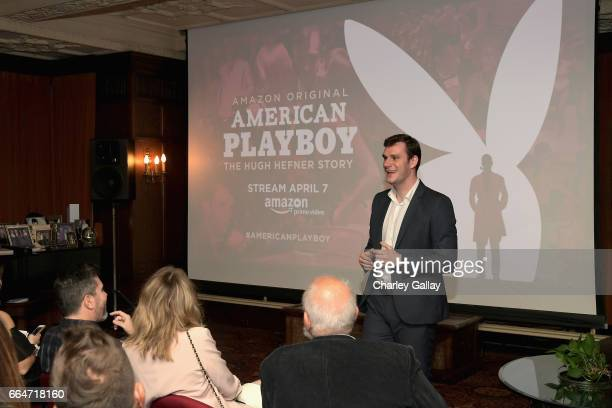Chief Creative Officer at Playboy Cooper Hefner speaks during Amazon Original Series 'American Playboy The Hugh Hefner Story' premiere event at The...