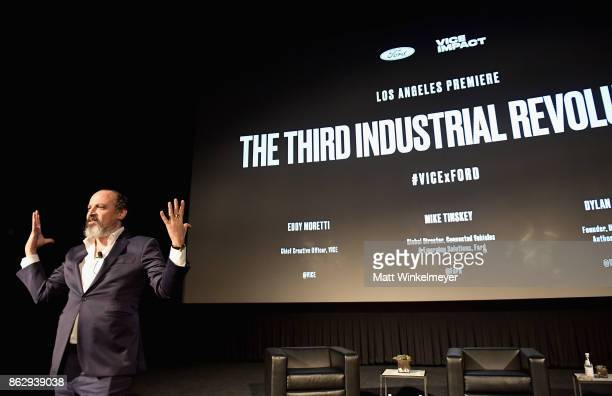 Chief Creative Officer at VICE Eddy Moretti speaks onstage during VICE Impact's 'The Third Industrial Revolution' Los Angeles premiere presented by...