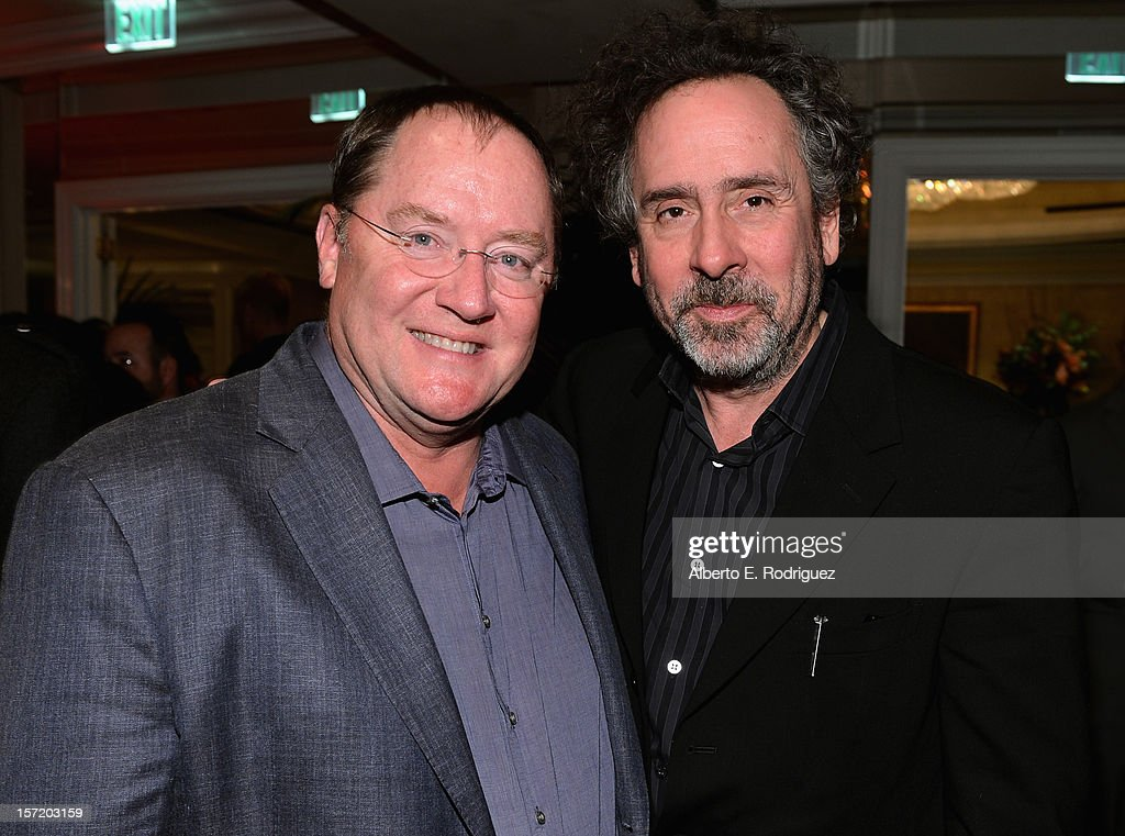 Chief creative officer of Walt Disney and Pixar Animation Studios <a gi-track='captionPersonalityLinkClicked' href=/galleries/search?phrase=John+Lasseter&family=editorial&specificpeople=224003 ng-click='$event.stopPropagation()'>John Lasseter</a> (L) and 'Frankenweenie' director <a gi-track='captionPersonalityLinkClicked' href=/galleries/search?phrase=Tim+Burton&family=editorial&specificpeople=206342 ng-click='$event.stopPropagation()'>Tim Burton</a> (R) attend Walt Disney Studios 2012 animation celebration at The Beverly Hills Hotel on November 29, 2012 in Beverly Hills, California.