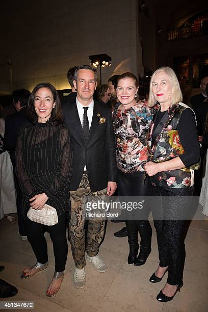 Chief Curator of Fashion and Textiles at Les Arts Decoratifs Pamela Golbin Stylist Dries Van Noten and guests attend the Dries Van Noten Exhibition...