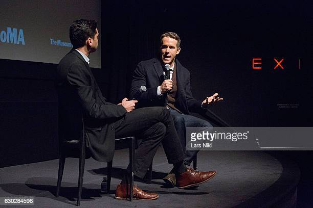 Chief Curator of Film Rajendra Roy and Actor Ryan Reynolds attend the Q and A during The Contenders Screening of DEADPOOL With Ryan Reynolds at MOMA...