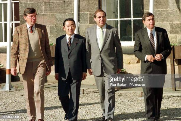 Chief delegates at the Quadrilateral meeting 2 at Ripley Castle North Yorkshire L to R Canada's Minister for Trade Roy MacLaren Japan's Minister for...