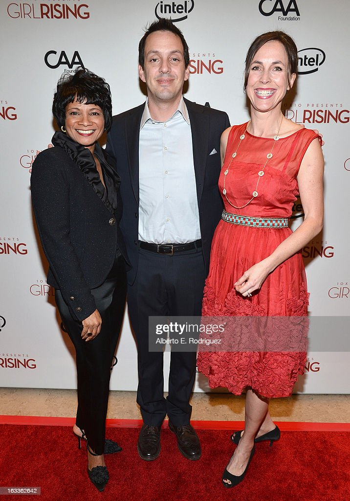Chief Diversity Officer & Global Director of Education and External Relations for Intel Roz Hudnell, director Richard Robbins and producer Martha Adams attend a special screening of 10x10's 'Girl Rising' hosted by Intel on March 7, 2013 in Los Angeles, California.