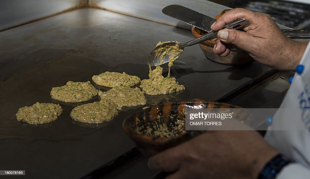 Chief Don Chon cooks a plate with nopal (Cactus leave) and mosquito eggs in his restaurant's kitchen on August 18, 2013. The Restaurant Bar Don Chon, in downtown Mexico City, was founded in 1924 specializes in exotic Mexican food.