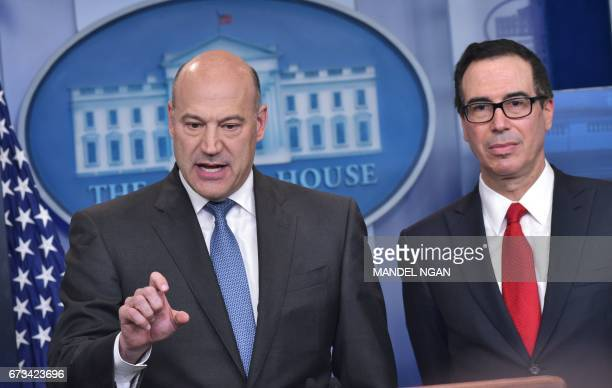 Chief Economic Advisor Gary Cohn and Treasury Secretary Steven Mnuchin speaks in the Brady Briefing Room on US President Donald Trump's tax reform...