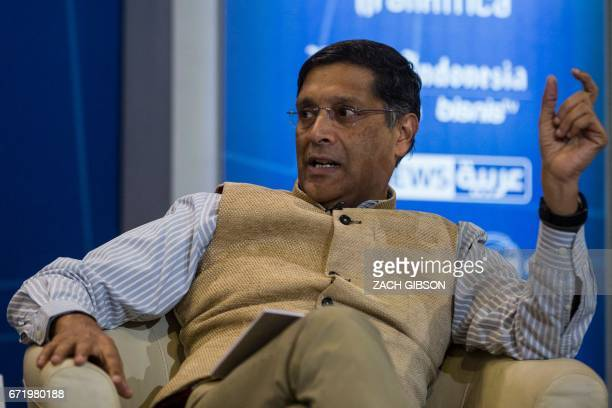 Chief Economic Advisor to the Government of India Arvind Subramanian speaks during a panel discussion on the effects of digitalization and technology...