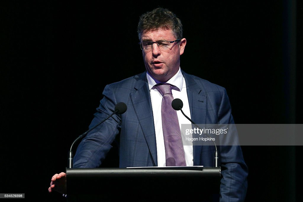 Chief Economist, Cameron Bagrie, speaks during a post-budget breakfast at Te Papa on May 27, 2016 in Wellington, New Zealand. The National party government yesterday delivered the budget, unveiling $761m in new spending for science and innovation, $2.2b investment in new health initiatives, along with investments in housing for Auckland and an increase in tobacco tax.