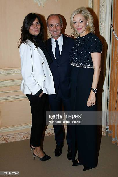 Chief Editor of Vogue Paris Emmanuelle Alt CEO Condenast France Xavier Romatet and CEO of Swarovski UK Ltd Nadja Swarovski attend the Vogue Fashion...