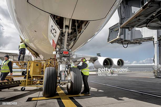 Chief engineer checking A380 aircraft