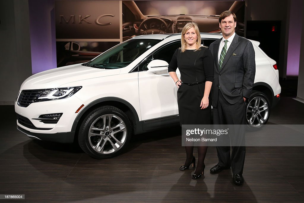 MKC Chief Engineer Lisa Drake and Executive VP of Ford Global, Marketing, Sales and Service and Lincoln, Jim Farley with all-new 2015 Lincoln MKC on November 13, 2013 in New York City.