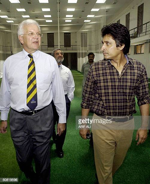 Chief Exective of the International Cricket Council Malcolm Speed walks with Chief Executive of the Pakistan Cricket Board Ramiz Raja and ICC...