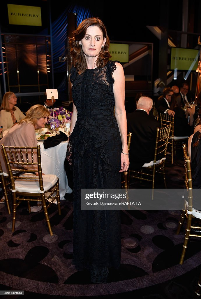 BAFTA Chief Executive Amanda Berry OBE wearing Burberry attends the BAFTA Los Angeles Jaguar Britannia Awards presented by BBC America and United...