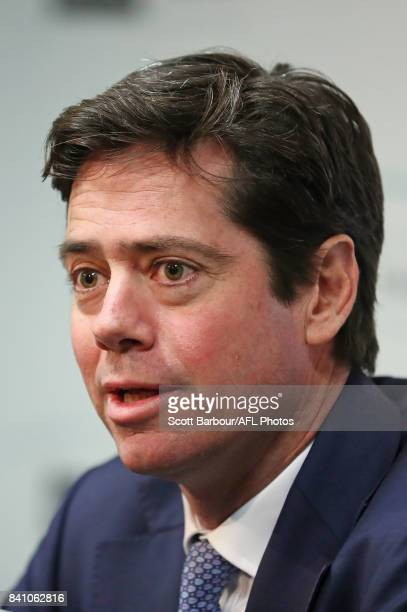 Chief Executive Gillon McLachlan addresses the media after Steve Hocking was announced as the new AFL General Manager of Football Operations at AFL...