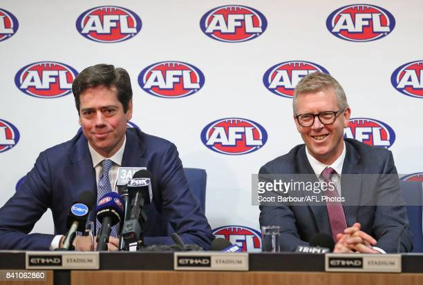 Chief Executive Gillon McLachlan and AFL General Manager Football Operations Steven Hocking address the media after Steve Hocking was announced as...