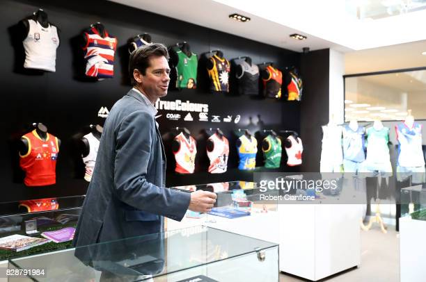 Chief Executive Gillon McLachlan arrives for an AFL press conference at AFL House on August 10 2017 in Melbourne Australia