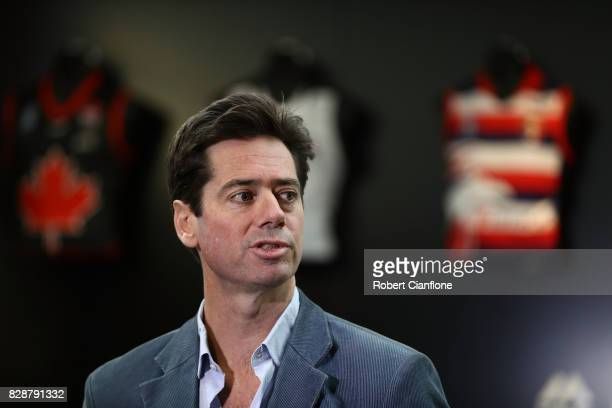 Chief Executive Gillon McLachlan speaks to the media during an AFL press conference at AFL House on August 10 2017 in Melbourne Australia