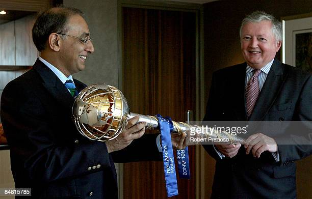 Chief Executive Harron Lorgat and ICC President David Morgan accept the ICC Test Championship Mace at the Grand Hyatt Hotel on February 4 2009 in...