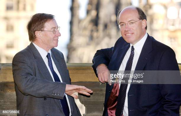 Chief Executive James Crosby and Deputy Chief Executive Peter Burt at the launch of the Halifax and Bank of Scotland merger at the headquarters in...